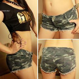 jeans de cintura baja para niñas Rebajas Envío de la gota! Pantalones cortos de los pantalones vaqueros del camuflaje de las mujeres atractivas Pantalones cortos de la cintura baja del dril de algodón caliente Pantalones cortos de las muchachas de las señoras