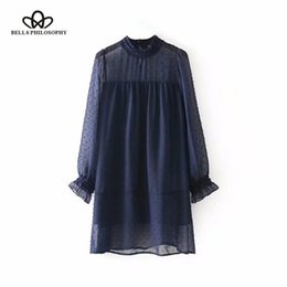 bella dresses Promo Codes - Bella Philosophy 2018 spring women full petal sleeve dress hollow out loose female mini dress O Neck patchwork chiffon