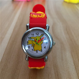 Wholesale children kids cute wrist watch - 3D Cartoon Poke Go Pikachu Kids Watch Children Students Anime Cute Wristwatch Silicone Band Quartz Wrist Watch Gifts