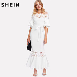 Wholesale Maxi Dress Belt White - SHEIN White Off the Shoulder Bishop Sleeve Sheath Party Dress Half Sleeve Guipure Lace Panel Self Belted Trumpet Maxi Dress