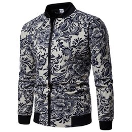 linen jacket pattern Promo Codes - 2018 Autumn Fashion Linen Jacket Men Hip Hop Large Size Flowers Pilot Bomber Jacket Coat Men's Printing Jackets EUR Size S-2XL