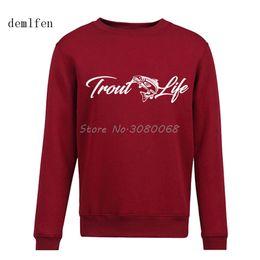 Рыболовные пуловеры онлайн-Men Casual O-Neck Printed Sweatshirt Trout Life Fish Hoodies Men Coon Pullovers Hoodie  Clothing