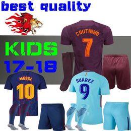 Wholesale Messi Jersey Kids - SUAREZ Jerseys 2017 2018 kids kit Camisas Dembele Messi INIESTA Soccer Jersey 17 18 Paulinho Camiseta de futbol third COUTINHO Long sleeves
