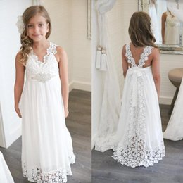 Wholesale Crystal Wedding Sashes For Dresses - 2018 Beach Flower Girl Dresses A Line V Neck Floor Length Girls Pageant Dresses With Lace Chiffon Crystal Sash For Wedding Party