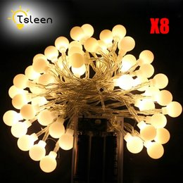 Wholesale Cheap Led Christmas Lights Wholesale - Wholesale- Cheap 8PCS Hoilday Lighting LED Ball String Lights Battery Box New Year Xmas Outdoor Indoor Decorative Fairy Lights Lamp