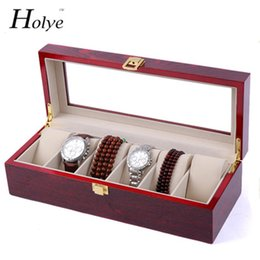 red wooden boxes Coupons - Red Wooden Watch Storage Case 6 Grids Watches Display Box Red Lacquer Jewelry Watch Boxes Fashion Storage Gift Boxes