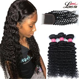 Wholesale brazilian hair extensions deep wave - Brazilian Deep Wave With Closure Hair Bundles with 4x4Lace Closure Brazilian Virgin Human Hair With Closure Unprocessed Human Hair Extension