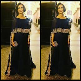 2018 azul marino vestidos de madre de la novia de la joya del cuello medio  mangas con envoltura de oro apliques de encaje vestido de fiesta de gasa  vestido ... e022aa05d6b9