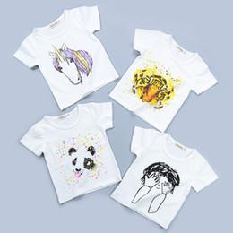 Tops panda enfants en Ligne-Nouveau Casual Cartoons Enfants T-shirts Pour Filles Enfants Tee Shirts Garçons Tops À Manches Courtes Tigre Licorne Panda Coton Vêtements KA611