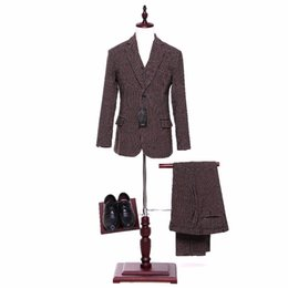 Wholesale Blaser Mens - New Mens Casual Blazers Jacket Brown Dots Pattern Wool Slim England Suit Blaser Masculino Male Mens Suit Coat Size XS-4XL CUSTOM