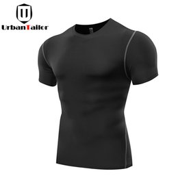 Wholesale Fast Workouts - Hot Sale Solid Fitness Compression T shirt Men Fast Dry Workout Gear Black Top Tees Bodybuilding Slim Tee Male Exercise Clothing