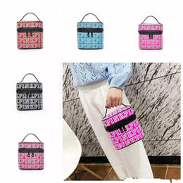 Wholesale Rolling Travel Cosmetic Bag - PINK Makeup Bag Love Pink Cosmetic Bags Double Zipper Handbag Portable Storage Bags 18*18*18cm Travel Bag Towel