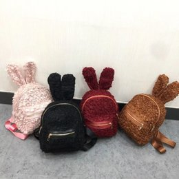Wholesale Small Ears Cartoons - Kids Backpack Newest Rabbit Ears Woolen Mini Backpacks Cute Big Rabbit Ears Double Shoulder Bag Small Backpacks Children Youth Travel Bags