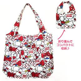 olá saco de compras do gatinho Desconto Nova Moda Olá Kitty Meninas Mulher Crianças Grandes Nylon Dobre Sacos De Compras Para Crianças