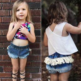 2019 jeans cortos de moda para niñas Chica BabyTassel Jeans pantalones cortos pantalones cortos de mezclilla verano bebé pantalones cortos de Jean de moda infantil pantalones pantalones jeans cortos de moda para niñas baratos