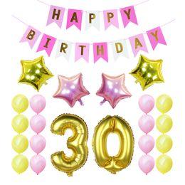2019 balão de ouro número 30o aniversário festa decoração define happy birthday banner 30 40 50 60º ouro número balões 30 anos de idade fontes do partido balão de ouro número barato