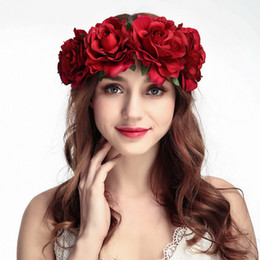 Wholesale wigs rose red - New Arrival Bridal Floral Hair Band Crown Rose Headwear Women Hair Accessories Artificial Flower Headband For Girls