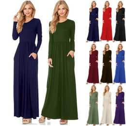 Wholesale Round Neck Long Sleeve Dresses - Fashion Clothing Women Long Sleeve Maxi Dress Round Neck Loose Plain Swing Casual Long Dresses With Pockets High Quality FU028