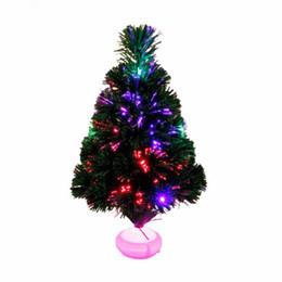 45 cm Moda Mini albero di Natale Fibra ottica artificiale con LED e supporto per la decorazione di Capodanno Forniture H842 da ha condotto gli alberi di natale di fibra ottica fornitori
