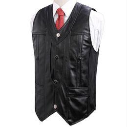 466e5786605f3 Man Spring Plus Size 100% Sheepskin Vests Male Autumn Oversize 100% Genuine  Leather Vest Men Sheepskin Waistcoat Cuero Chaleco