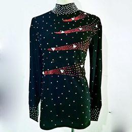 Danse latine chemises hommes noir à manches longues paillettes de diamant tops chemise de bal de costume masculin porter des vêtements de la performance personnaliser ? partir de fabricateur