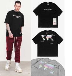 Wholesale Unique Shirts Men - 2018 Unique Fashion map print oversize Letter Printed Men WomenT Shirts Casual Short Sleeve Round Neck Simple tee Grey Black Tops
