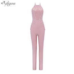 Wholesale Full Length Rings - Ailigou Metal Ring Backless O Neck Bandage Jumpsuits Prom Cocktail 2017 New Summer Back Zipper Women Skinny Full Length Rompers