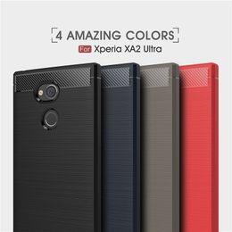 Wholesale Xperia Mobiles - For Sony Xperia XA1 XA2 Ultra L2 XZ Premium XZS XZ1 Compact Carbon fiber Brushed Skin Soft TPU Rubber Back Mobile Phone case cover
