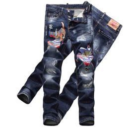 Высокое качество отверстие джинсы выскабливание патч граффити спрей краска D2 джинсы мужские осень и зима стрейч брюки DS2 ноги джинсы supplier spray paint graffiti от Поставщики граффити с распылительной краской