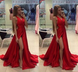 pick shirt Coupons - 2018 Cheap Thigh Slit Splid Red Prom Dresses V Neck Sexy Open Back Sweep Train Custom Made Formal Prom Gowns Special Occasion Wears