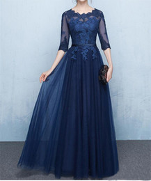Wholesale line floor length mother bride dresses - Navy Blue Lace Mother of the Bride Dresses with Half Sleeves Sheer Applique Lace-up Back Floor Length Formal Evening Gowns
