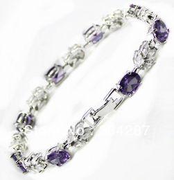 Wholesale Amethyst Fine Jewelry - fast shipping Fine Jewelry CZ Crystal + Amethyst Bracelet -Top quality free shipping