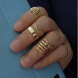 Wholesale Fashion Toe Rings - 6pcs set Gold Ring Set Combine Joint Ring Band Ring Toes Rings for Women Fashion Jewelry