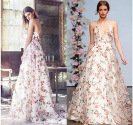 Wholesale Dresses Engagements - Printed Floral Prom Dresses Long Organza Engagement Dress Open Back Evening Party Gowns Sexy V-Neck Formal Dress Dubai Abiye