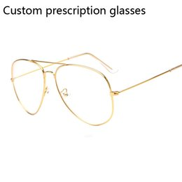 0643b54f551 custom eyeglasses UK - Custom prescription myopia glasses frame pilot  Eyeglasses prescription lens Women Men Optical