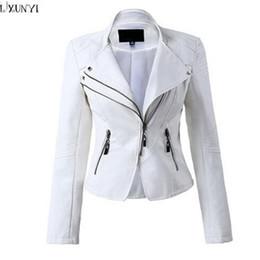 Wholesale- LXUNYI White Black PU leather Motorcycle jacket Women 2017 Autumn Short Slim Zipper Coat Plus Size Ladies leather jackets Faux от