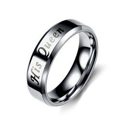 Argento nero acciaio inossidabile His Queen Her King Amante della coppia di moda Promise Ring per Donna Uomo Unisex da