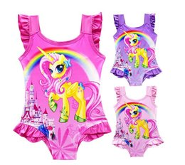 Säuglingsstück badeanzug online-6 design INS Einhorn Badebekleidung Einteiler Bowknot Badeanzug Bikini Big Kids Sommer Cartoon Infant Swim Badeanzüge Beachwear Neuheit