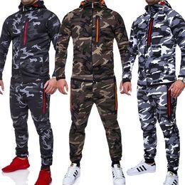 Wholesale Mens Cotton Camouflage Pants - Mens Tracksuit Sport Set Hoodie Jacket Long Pants Camouflage Trousers