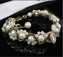 Wholesale Fresh Bracelets - Fashion Designer CC Jewelry Elegent Natural Fresh Pearl Gorgeous Crystal Gold PL Bracelet Bangles Statement Jewelry Fashion Bangle For Women