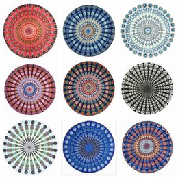 Manteles redondos de algodón online-Redondo Mandala Tapestry Indian Round Beach Throw Tapestry Colgante de pared Hippy Boho Gypsy Cotton Mantel Yoga Sheet 17 Designs YW383