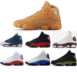 Wholesale Christmas Golden - New 13 13s Wheat Golden Harvest Men Basketball Shoes 13s Bordeaux Flint Bred Sneakers High Quality With Shoes Box