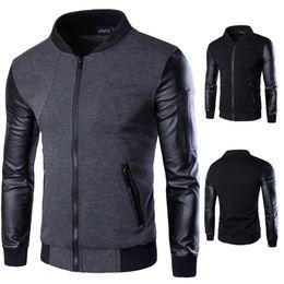 Casacos de motocicleta de couro patchwork on-line-Patchwork jaqueta de couro homens casacos homens outerwear outono magro fit masculino motocicleta cardigan gola jaquetas para homens venda quente