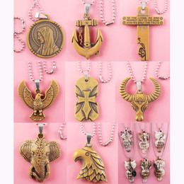 Wholesale White Resin Elephants - Acrylic Pendant Stainless Steel Chain Clasp Mix 9 Styles Anchor Cross Peace Dove Goat Elephant Eagle Owl Necklace Wholesale Lots New (JP016)