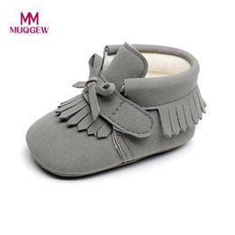 Wholesale Newborn Winter Boots - MUGEW Toddler Newborn shoes Baby Boys Girl Crib Winter Boots Prewalker Warm Martin Shoes Fashion Tassel Bow Tie toddler