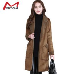 Wholesale leather trench overcoat - 2017 Women Suede Leather Coats Winter Autumn Long Jacket Faux Sheepskin Outerwear Female Overcoat Trench coats Windbreaker Y1426