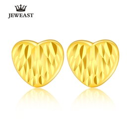 цельные золотые серьги 24k Скидка 24K Pure Gold Earring Real AU 999 Solid Gold Earrings Elegant Heart Upscale Trendy Classic Party Fine Jewelry Hot Sell New 2018