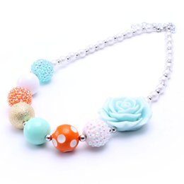 Wholesale Baby Beaded Necklaces - Cute design 1pcs lot baby flower beads necklace girl bubblegum necklace kids child chunky beaded neckalce 2016 fashion