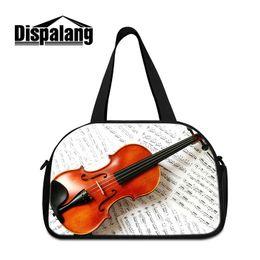 Wholesale Cartoon Violin - New Fashion Men Women Travel Bags Duffle Bag Violin Pattern Luggage Handbags Children Portable Sport Gym Weekend Bags Teens Overnight Duffel