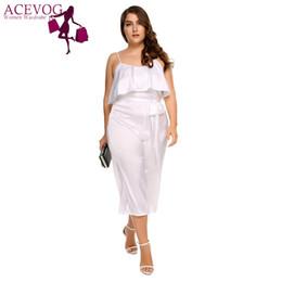 ceb1506544 Discount oversized jumpsuits - ACEVOG Sexy Women Jumpsiut Plus Size  Spaghetti Strap Ruffle Wide Leg Pants